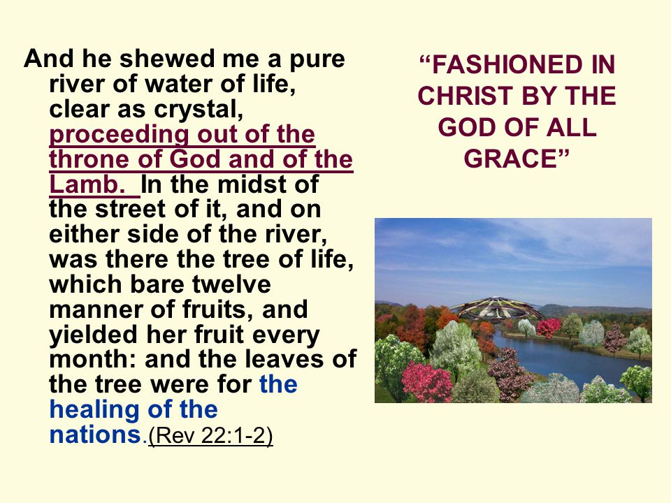 And he shewed me a pure river of water of life, clear as crystal, proceeding out of the throne of God and of the Lamb.