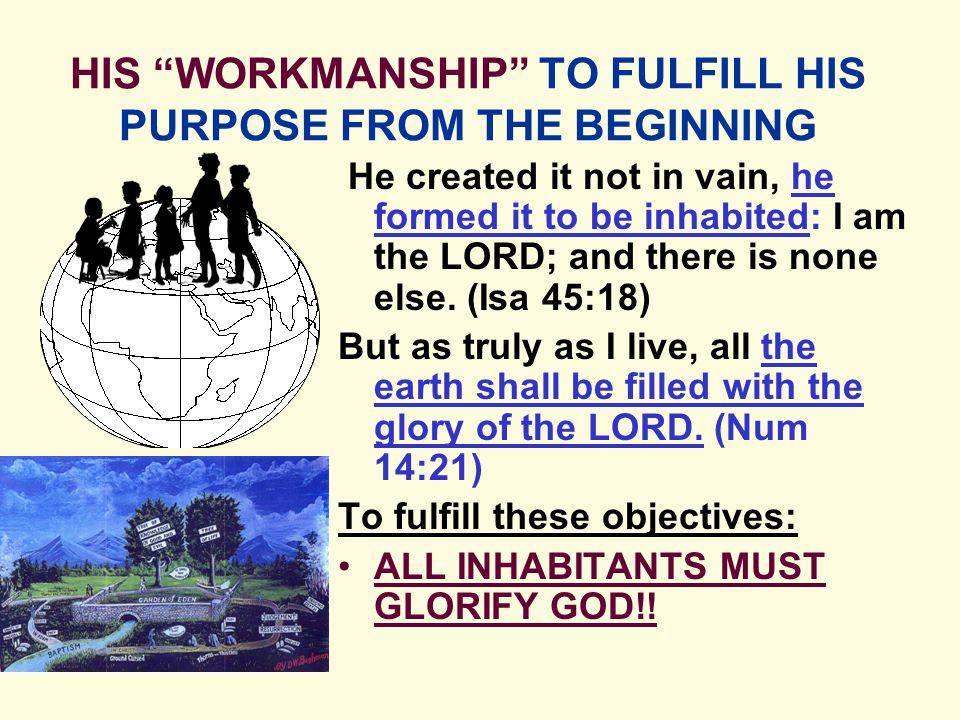 HIS WORKMANSHIP TO FULFILL HIS PURPOSE FROM THE BEGINNING He created it not in vain, he formed it to be inhabited: I am the LORD; and there is none else.