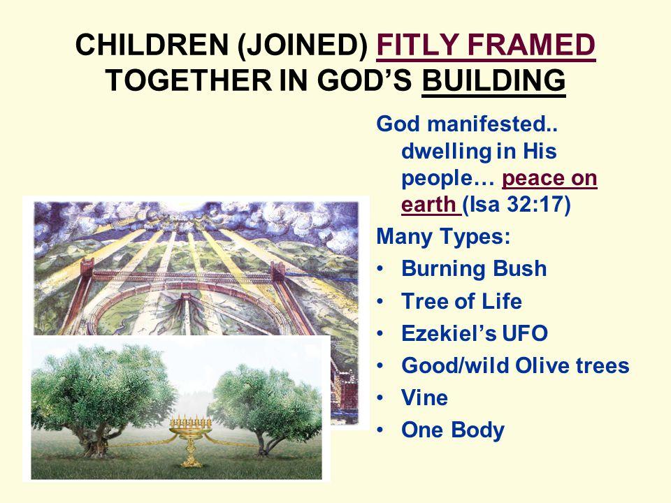 CHILDREN (JOINED) FITLY FRAMED TOGETHER IN GOD'S BUILDING God manifested..
