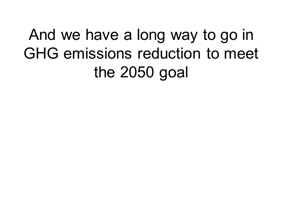 And we have a long way to go in GHG emissions reduction to meet the 2050 goal