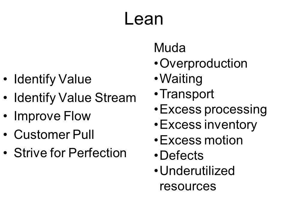 Lean Identify Value Identify Value Stream Improve Flow Customer Pull Strive for Perfection Muda Overproduction Waiting Transport Excess processing Excess inventory Excess motion Defects Underutilized resources