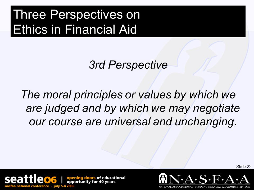 Slide 22 3rd Perspective The moral principles or values by which we are judged and by which we may negotiate our course are universal and unchanging.