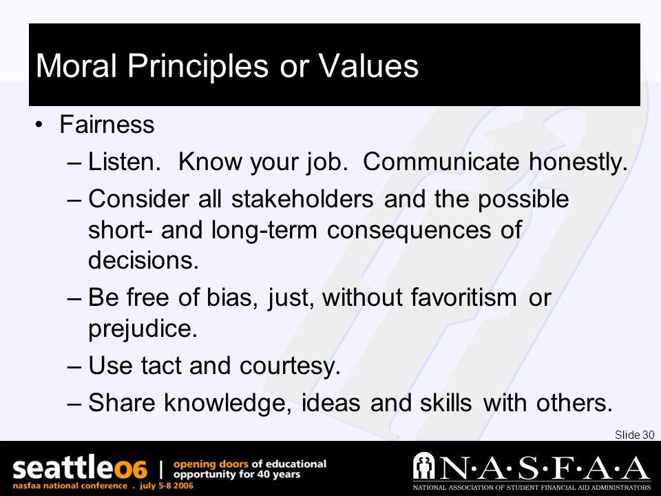 Slide 30 Moral Principles or Values Fairness –Listen.