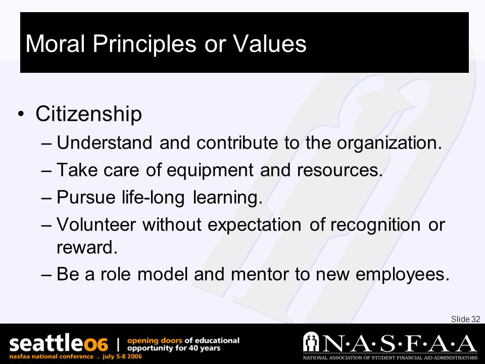Slide 32 Moral Principles or Values Citizenship –Understand and contribute to the organization.