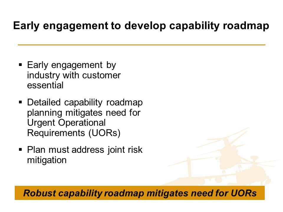Early engagement to develop capability roadmap  Early engagement by industry with customer essential  Detailed capability roadmap planning mitigates