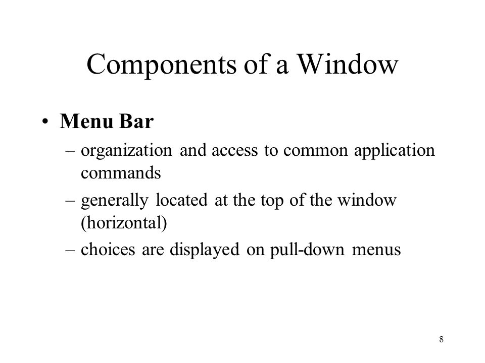 19 Types of Windows Secondary Window –represents a subordinate or ancillary function –typically associated with one data item –may be used for an associated function of a more extended or complex nature