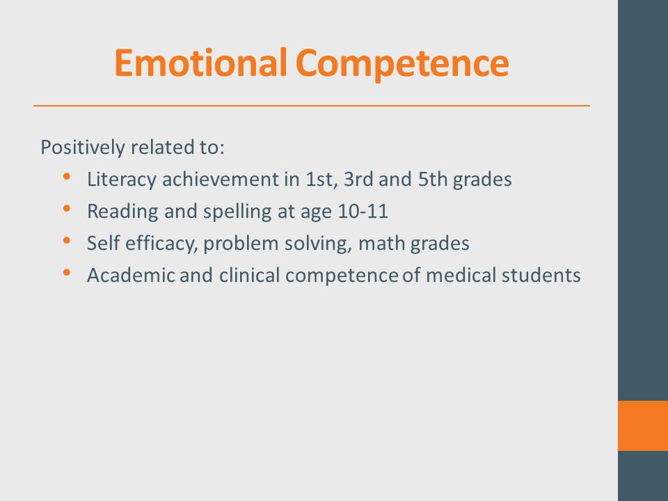 Emotional Competence Positively related to: Literacy achievement in 1st, 3rd and 5th grades Reading and spelling at age 10-11 Self efficacy, problem solving, math grades Academic and clinical competence of medical students