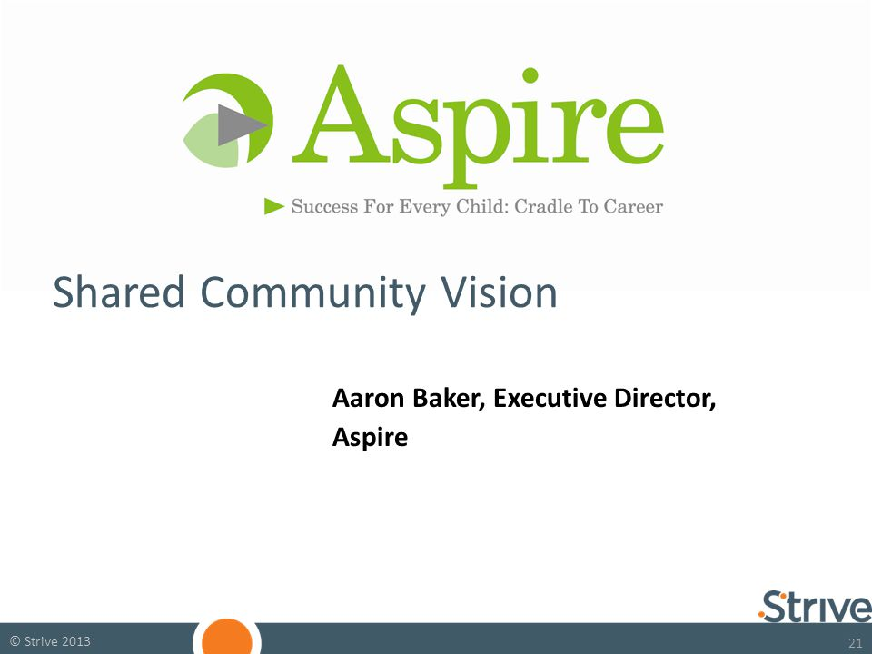 21 © Strive 2013 Aaron Baker, Executive Director, Aspire Shared Community Vision
