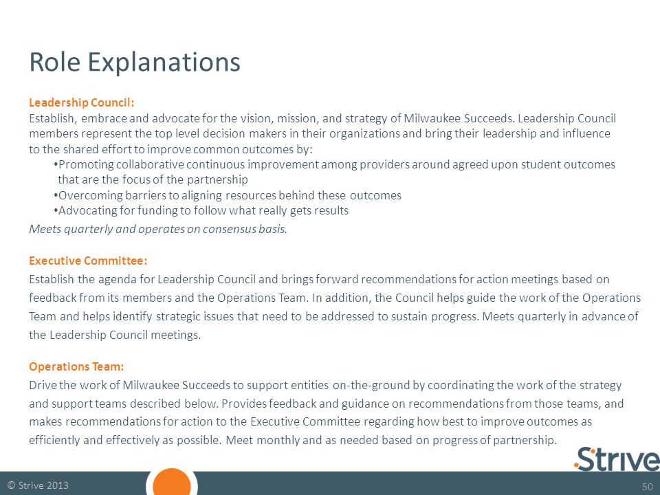 50 © Strive 2013 Role Explanations Leadership Council: Establish, embrace and advocate for the vision, mission, and strategy of Milwaukee Succeeds.