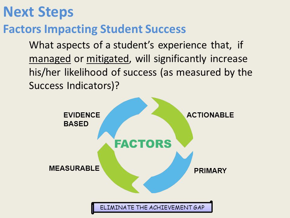 ELIMINATE THE ACHIEVEMENT GAP Next Steps Factors Impacting Student Success What aspects of a student's experience that, if managed or mitigated, will significantly increase his/her likelihood of success (as measured by the Success Indicators).