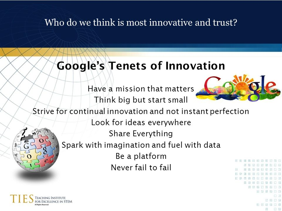Who do we think is most innovative and trust.