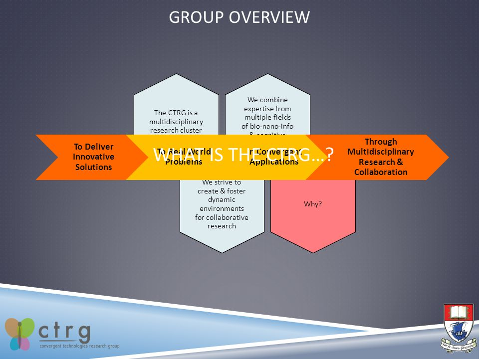 GROUP OVERVIEW We combine expertise from multiple fields of bio-nano-info & cognitive technologies The CTRG is a multidisciplinary research cluster We strive to create & foster dynamic environments for collaborative research Why.