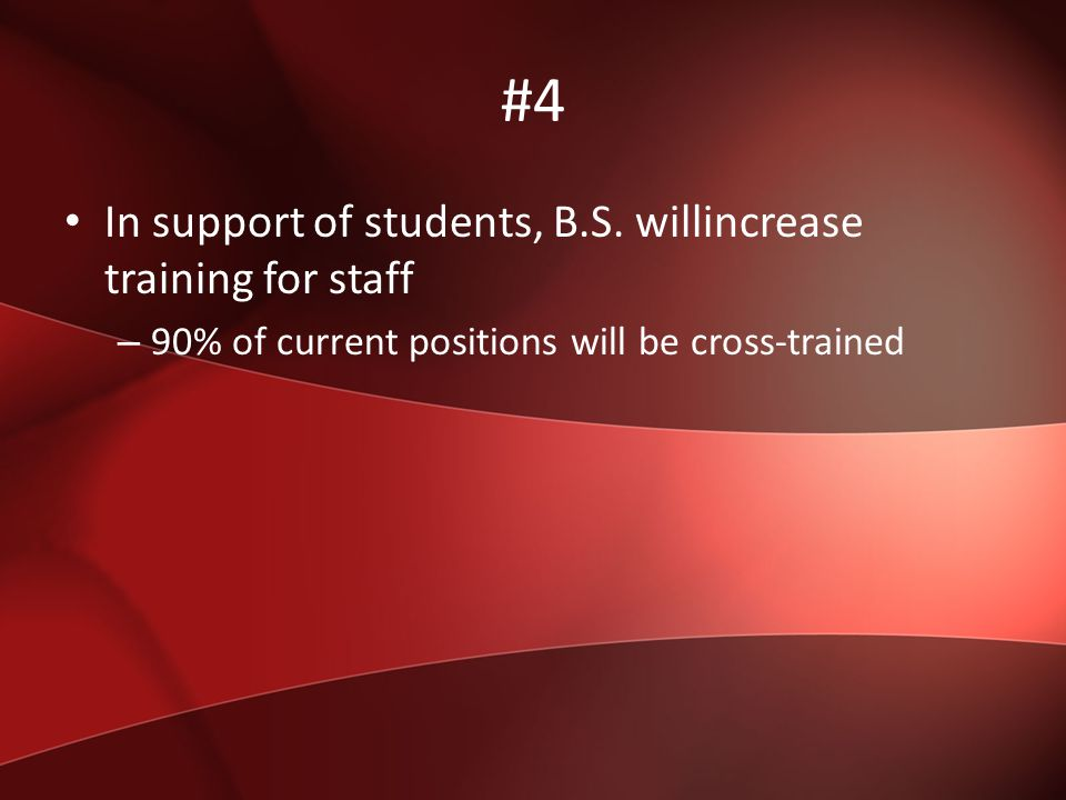 #5 In support of Students, we will post online duties and responsibilities of BS staff.