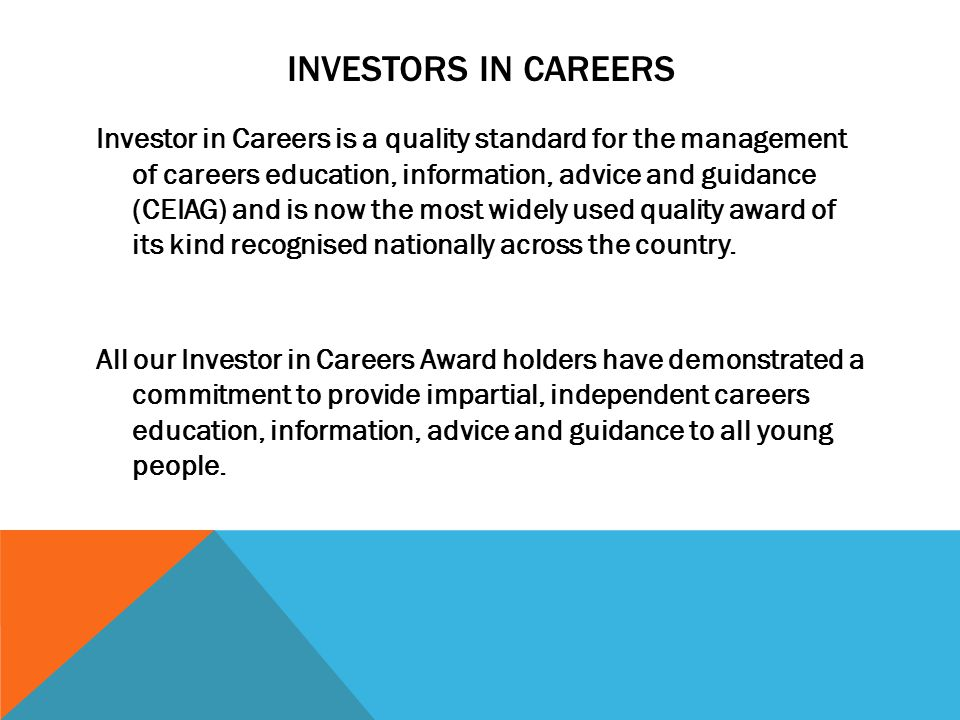 INVESTORS IN CAREERS This really is one of the highest accolades an organisation can receive for excellence in this area of work and is definitely something the award holders can be very proud of.