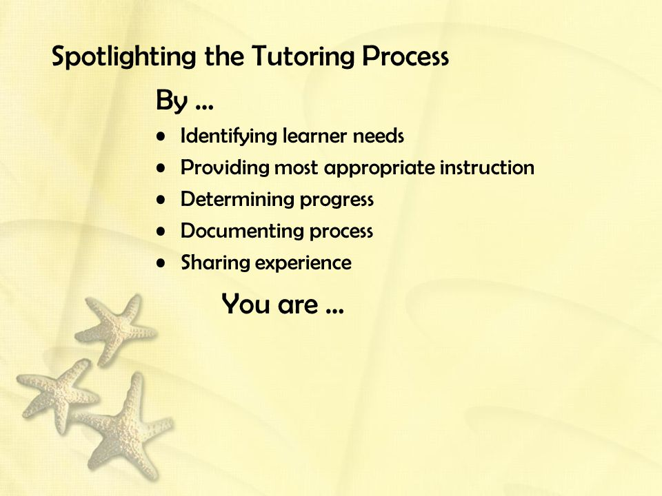 Spotlighting the Tutoring Process By … Identifying learner needs Providing most appropriate instruction Determining progress Documenting process Sharing experience You are …