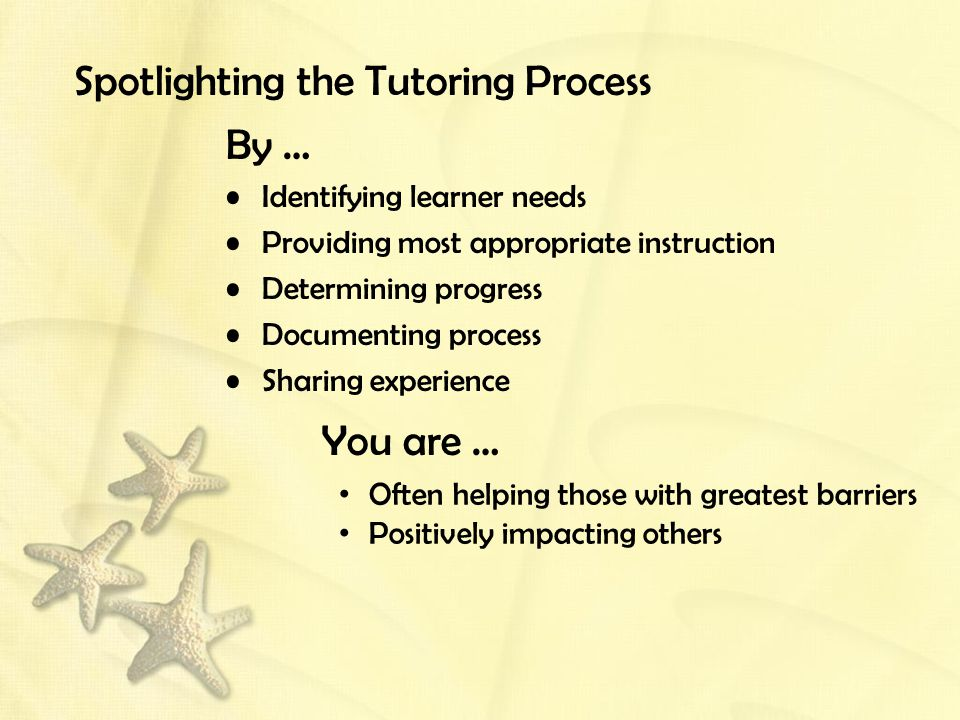 Spotlighting the Tutoring Process By … Identifying learner needs Providing most appropriate instruction Determining progress Documenting process Sharing experience You are … Often helping those with greatest barriers Positively impacting others