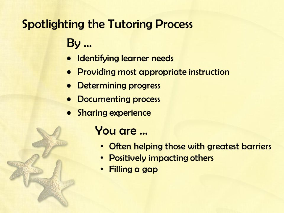 Spotlighting the Tutoring Process By … Identifying learner needs Providing most appropriate instruction Determining progress Documenting process Sharing experience You are … Often helping those with greatest barriers Positively impacting others Filling a gap