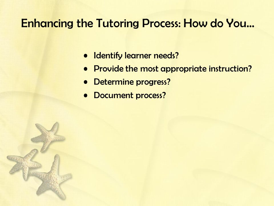 Enhancing the Tutoring Process: How do You… Identify learner needs? Provide the most appropriate instruction? Determine progress? Document process?
