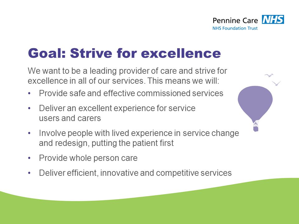 Goal: Strive for excellence We want to be a leading provider of care and strive for excellence in all of our services.