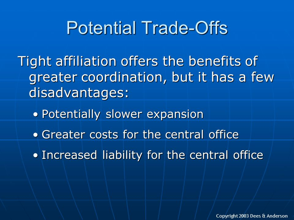 Copyright 2003 Dees & Anderson Potential Trade-Offs Tight affiliation offers the benefits of greater coordination, but it has a few disadvantages: Pot