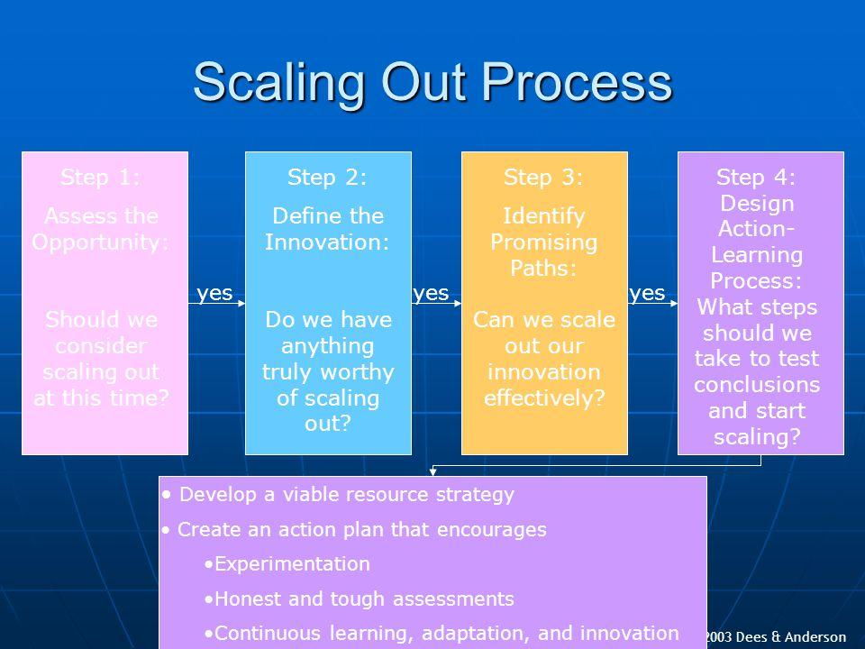 Copyright 2003 Dees & Anderson Scaling Out Process Develop a viable resource strategy Create an action plan that encourages Experimentation Honest and