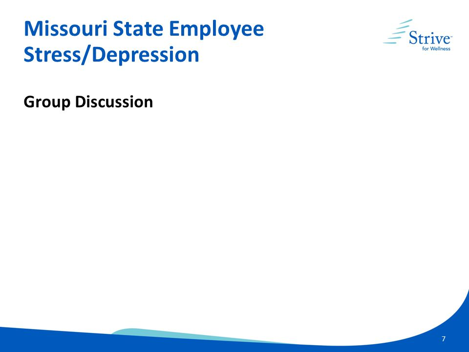 7 Group Discussion Missouri State Employee Stress/Depression