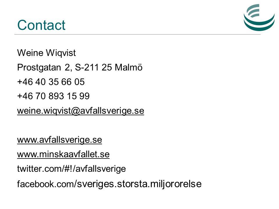 Contact Weine Wiqvist Prostgatan 2, S-211 25 Malmö +46 40 35 66 05 +46 70 893 15 99 weine.wiqvist@avfallsverige.se www.avfallsverige.se www.minskaavfallet.se twitter.com/#!/avfallsverige facebook.com /sveriges.storsta.miljororelse