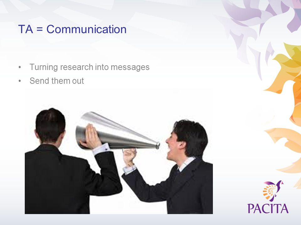 TA = Communication Turning research into messages Send them out