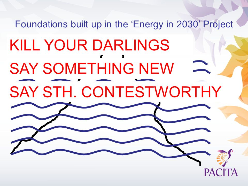 Foundations built up in the 'Energy in 2030' Project KILL YOUR DARLINGS SAY SOMETHING NEW SAY STH.