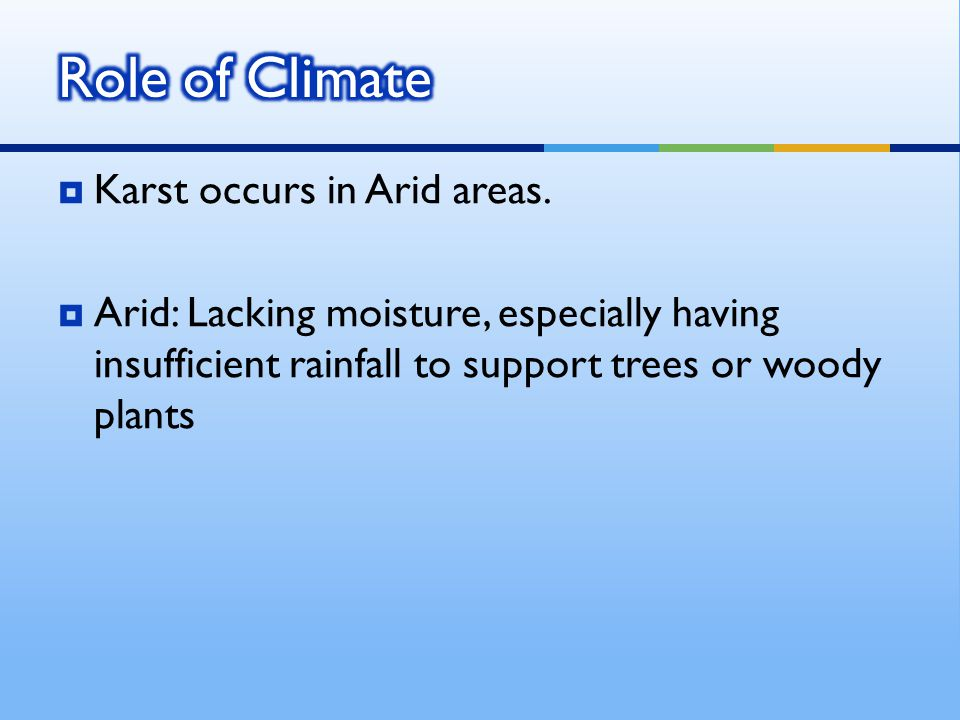  Karst occurs in Arid areas.