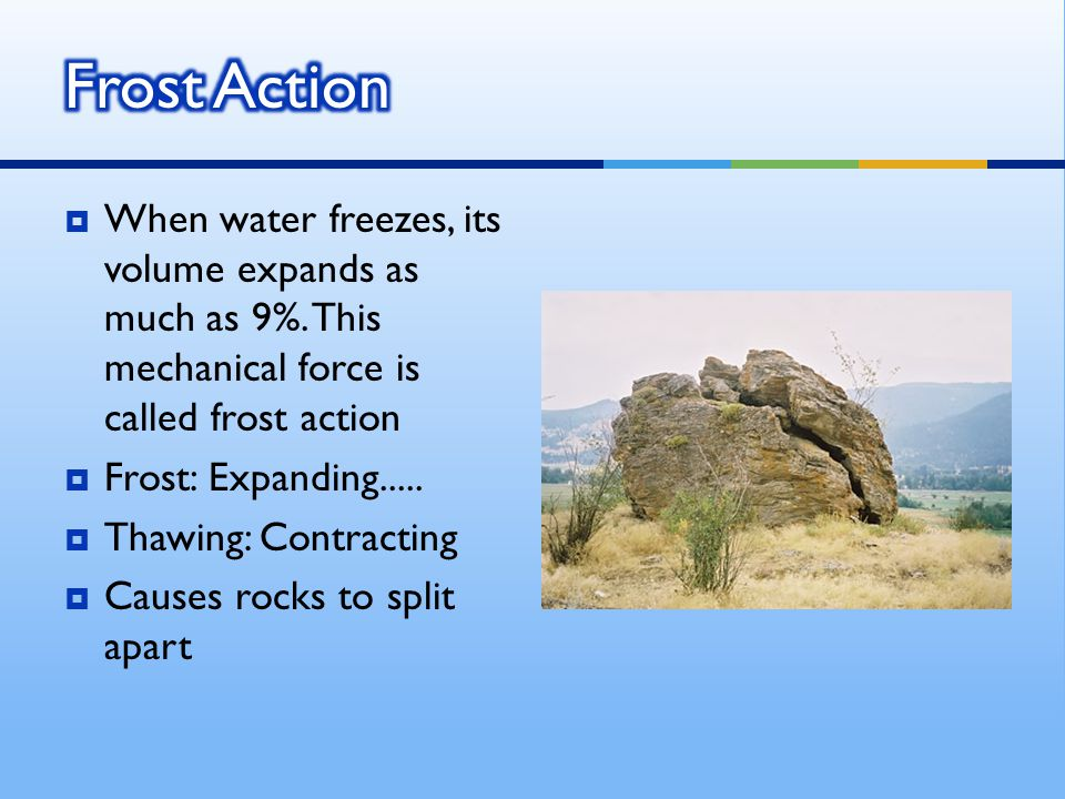  occurs with limestone (easiest to erode) - ground water absorbs carbon dioxide to form a slightly acidic solution - destroys joints (joint: line of weakness in a rock) and bedding planes to form karst topographykarst topography