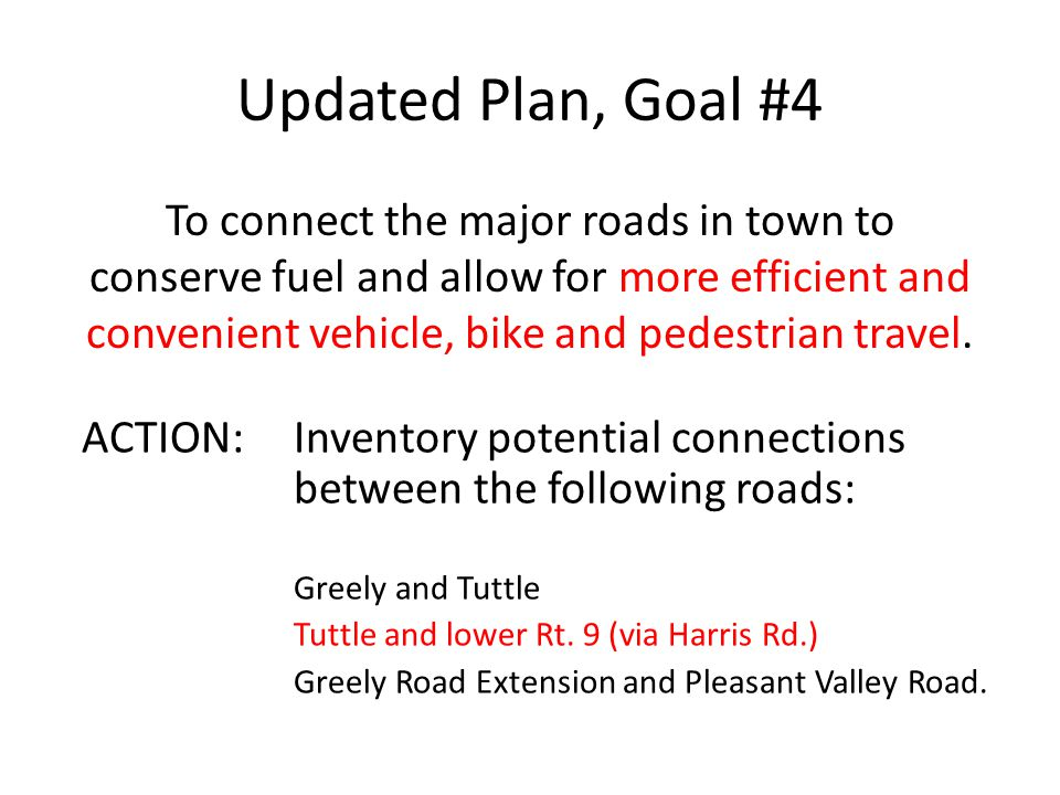 Updated Plan, Goal #4 To connect the major roads in town to conserve fuel and allow for more efficient and convenient vehicle, bike and pedestrian travel.
