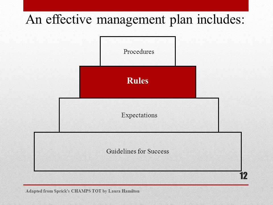 Adapted from Sprick s CHAMPS TOT by Laura Hamilton 12 Procedures Rules Expectations Guidelines for Success An effective management plan includes: