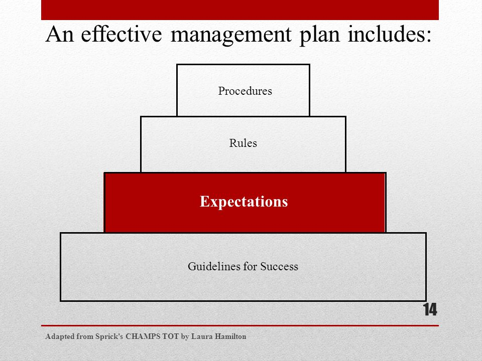 Adapted from Sprick s CHAMPS TOT by Laura Hamilton 14 Procedures Rules Expectations Guidelines for Success An effective management plan includes: