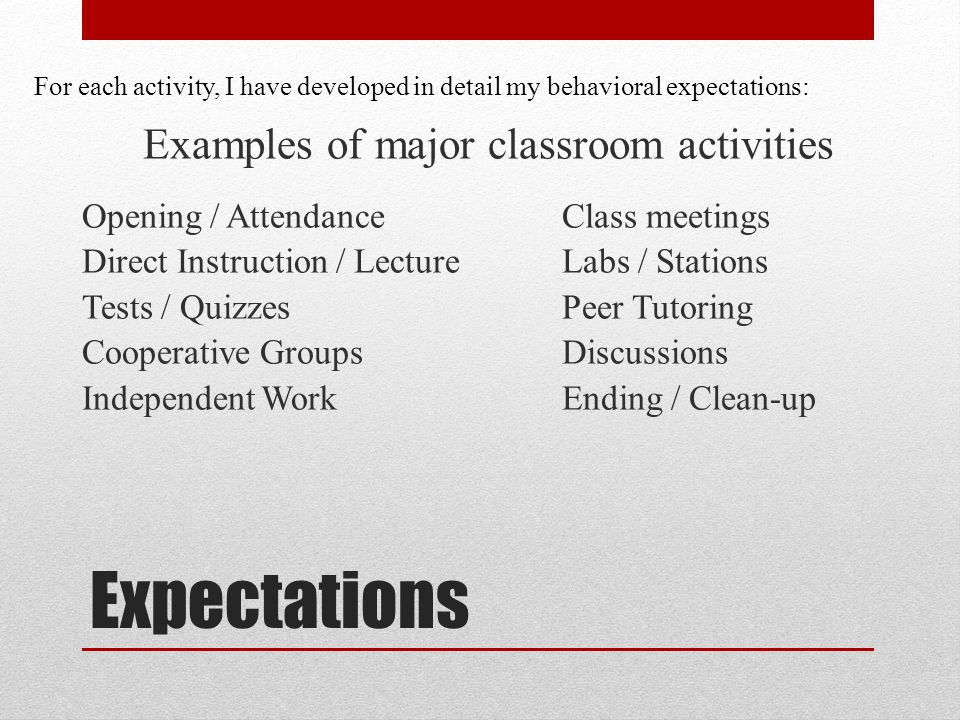 Expectations Examples of major classroom activities Opening / AttendanceClass meetings Direct Instruction / LectureLabs / Stations Tests / QuizzesPeer Tutoring Cooperative GroupsDiscussions Independent WorkEnding / Clean-up For each activity, I have developed in detail my behavioral expectations: