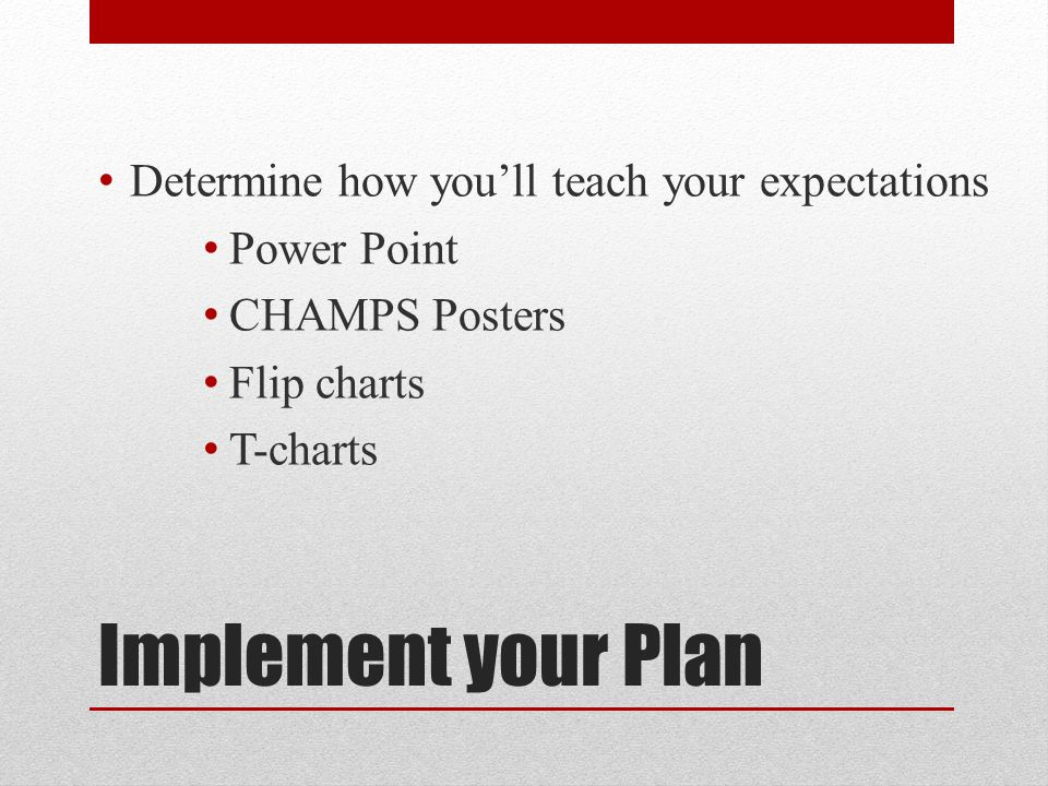 Determine how you'll teach your expectations Power Point CHAMPS Posters Flip charts T-charts