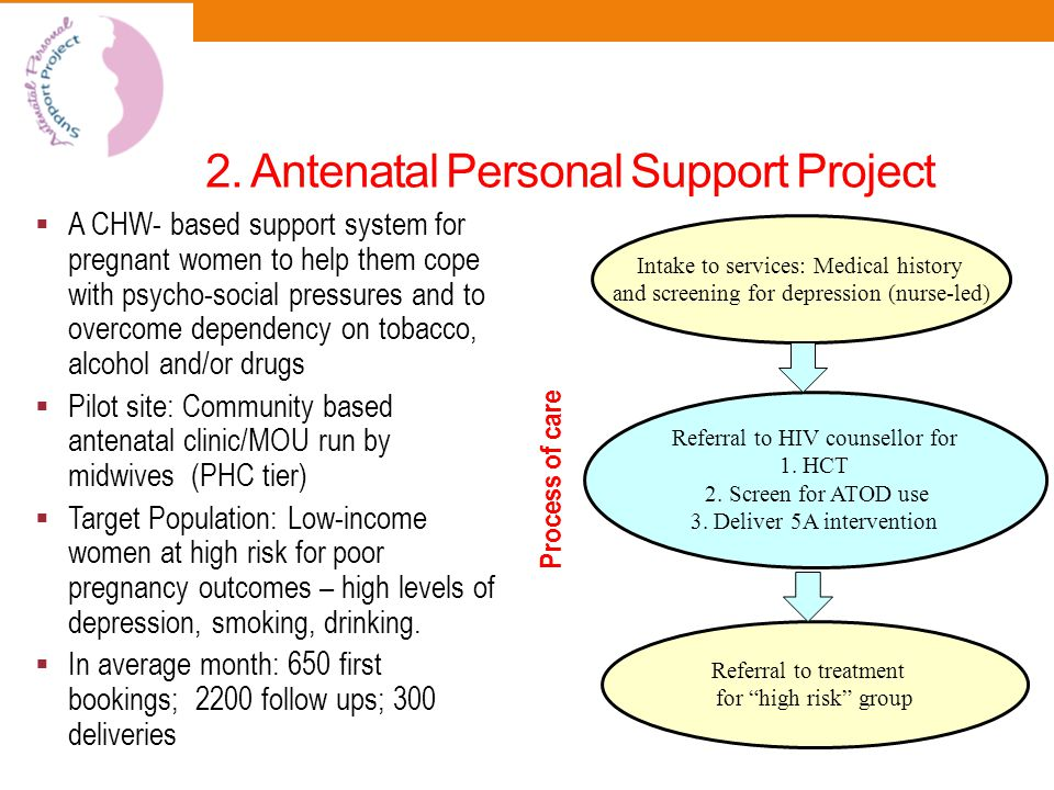 2. Antenatal Personal Support Project  A CHW- based support system for pregnant women to help them cope with psycho-social pressures and to overcome