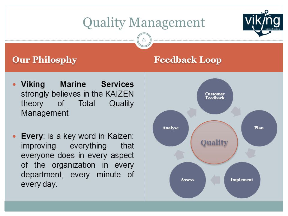 Our Philosphy Feedback Loop Viking Marine Services strongly believes in the KAIZEN theory of Total Quality Management Every: is a key word in Kaizen: improving everything that everyone does in every aspect of the organization in every department, every minute of every day.