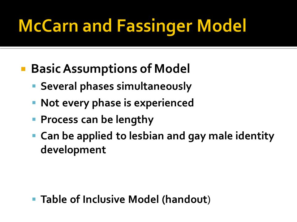  Basic Assumptions of Model  Several phases simultaneously  Not every phase is experienced  Process can be lengthy  Can be applied to lesbian and gay male identity development  Table of Inclusive Model (handout)