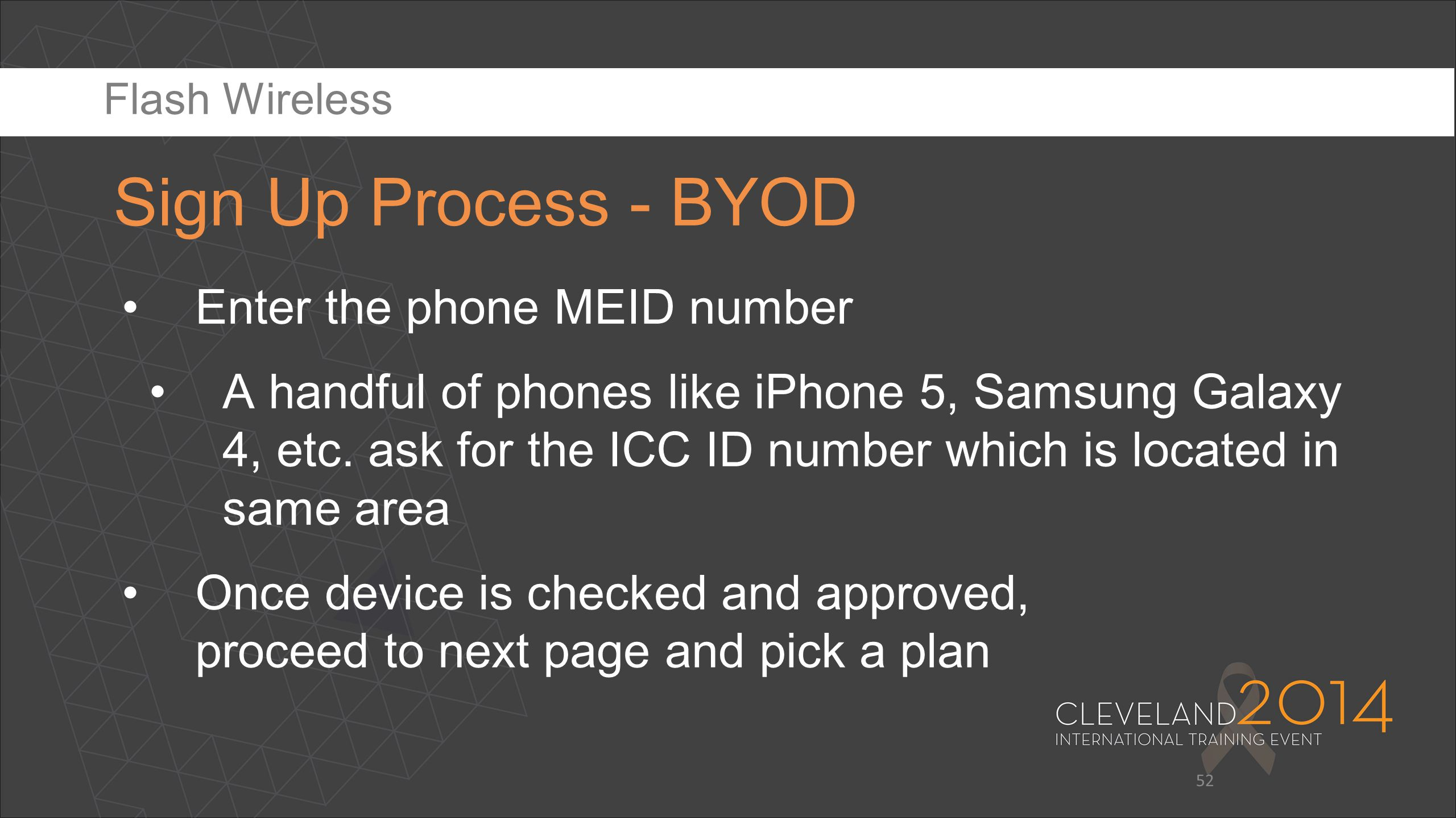 52 Enter the phone MEID number A handful of phones like iPhone 5, Samsung Galaxy 4, etc. ask for the ICC ID number which is located in same area Once