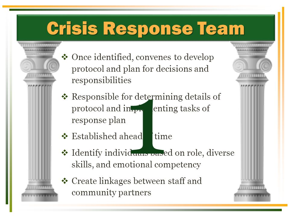 Crisis Response Team  Once identified, convenes to develop protocol and plan for decisions and responsibilities  Responsible for determining details of protocol and implementing tasks of response plan  Established ahead of time  Identify individuals based on role, diverse skills, and emotional competency  Create linkages between staff and community partners 1