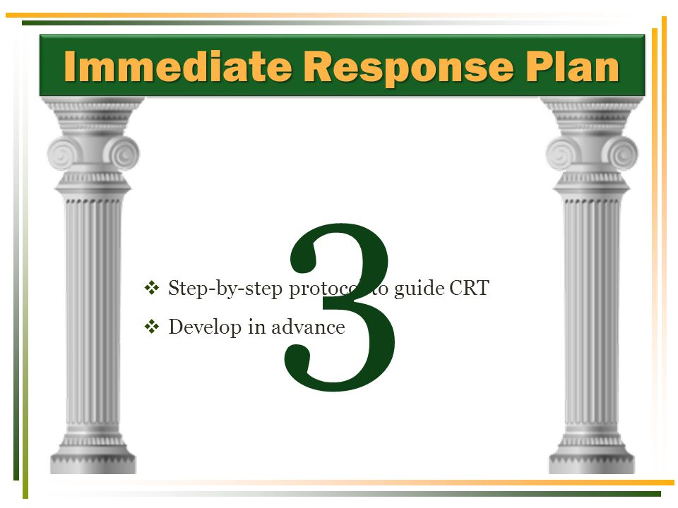 Immediate Response Plan  Step-by-step protocol to guide CRT  Develop in advance 3