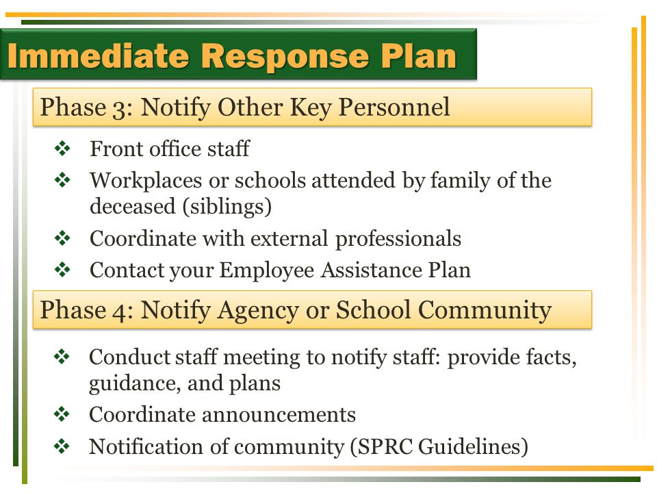  Front office staff  Workplaces or schools attended by family of the deceased (siblings)  Coordinate with external professionals  Contact your Employee Assistance Plan Phase 3: Notify Other Key Personnel Immediate Response Plan Phase 4: Notify Agency or School Community  Conduct staff meeting to notify staff: provide facts, guidance, and plans  Coordinate announcements  Notification of community (SPRC Guidelines)