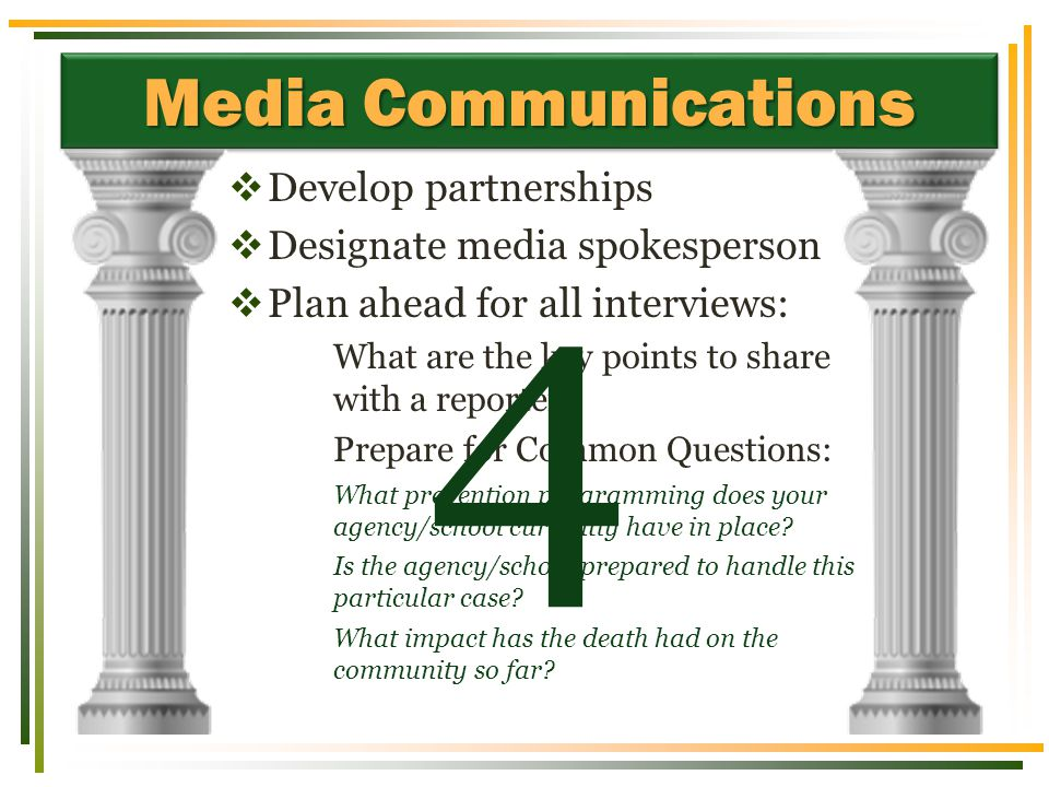 Media Communications  Develop partnerships  Designate media spokesperson  Plan ahead for all interviews: What are the key points to share with a re