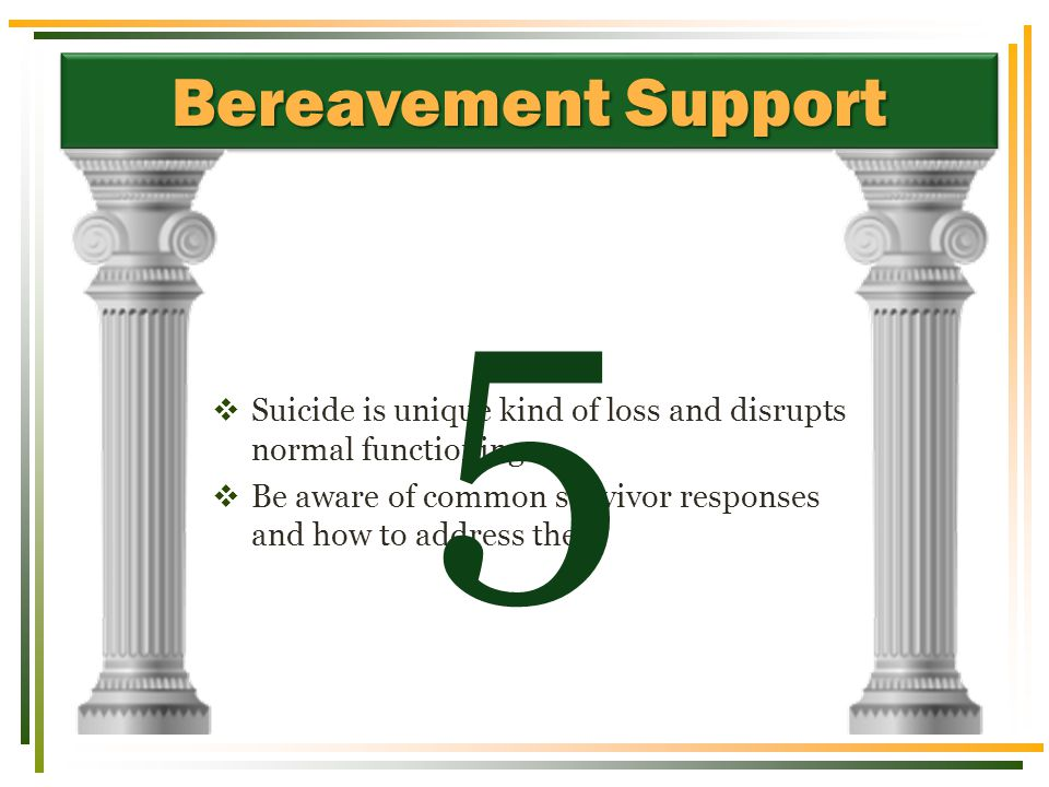 Bereavement Support  Suicide is unique kind of loss and disrupts normal functioning  Be aware of common survivor responses and how to address them 5
