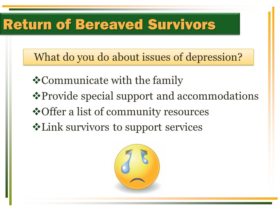 Return of Bereaved Students  Communicate with the family  Provide special support and accommodations  Offer a list of community resources  Link survivors to support services Return of Bereaved Survivors What do you do about issues of depression