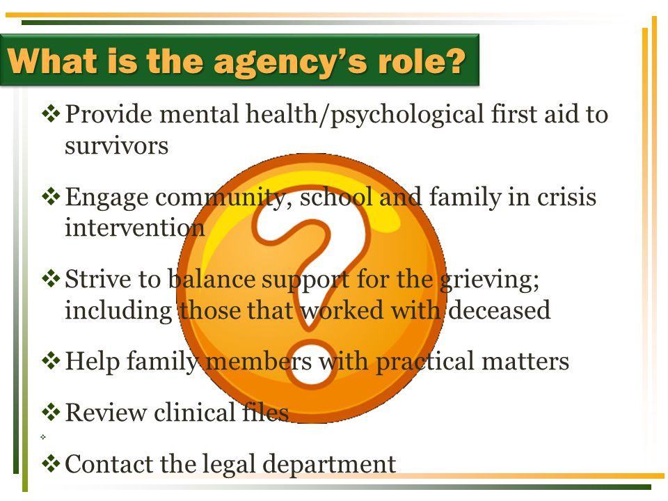 What is the agency's role.