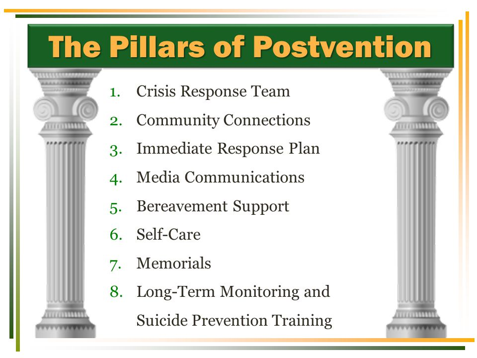 The Pillars of Postvention 1.Crisis Response Team 2.Community Connections 3.Immediate Response Plan 4.Media Communications 5.Bereavement Support 6.Self-Care 7.Memorials 8.Long-Term Monitoring and Suicide Prevention Training