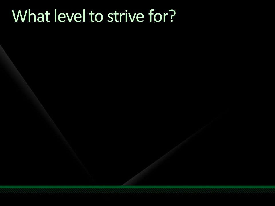 What level to strive for?