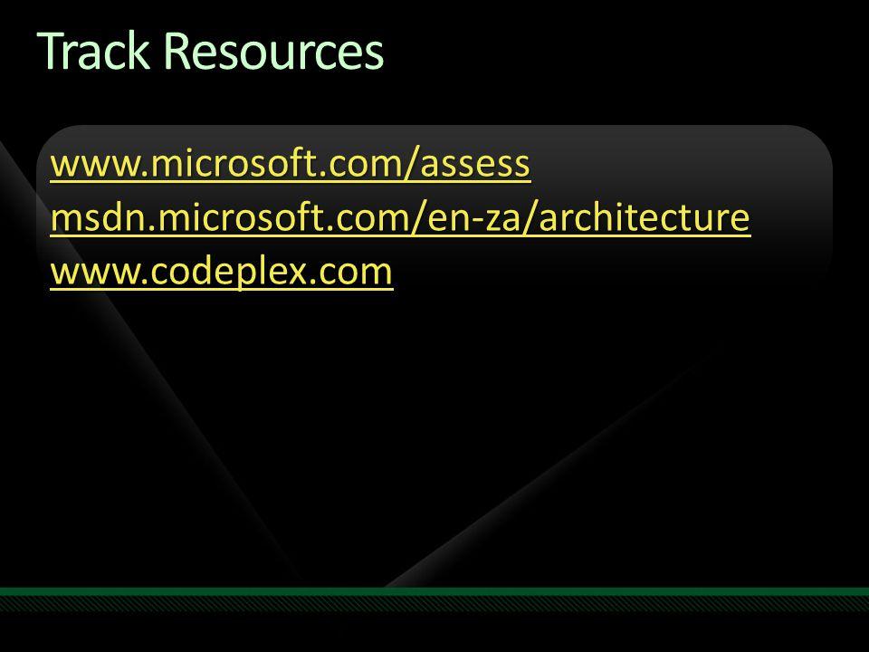 Track Resources www.microsoft.com/assess msdn.microsoft.com/en-za/architecture www.codeplex.com